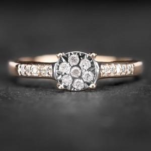 """Auksinis žiedas su Deimantais """"Shiny Flower 4"""""""