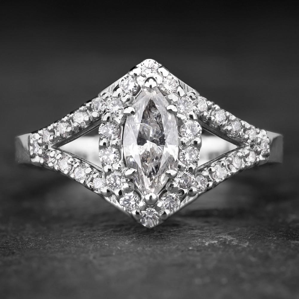"Balto aukso žiedas su Deimantais ""Marquise 4"""