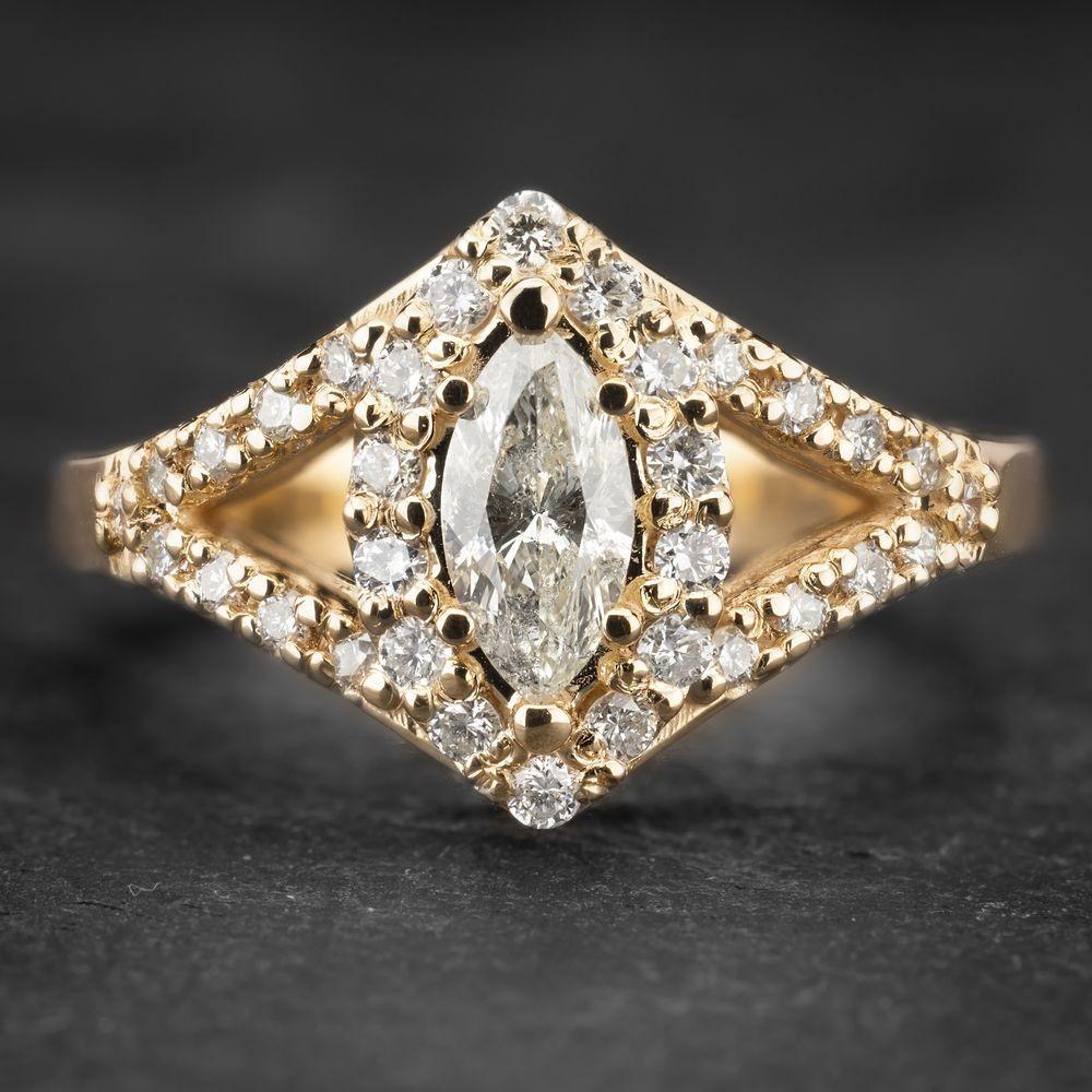 """Geltono aukso žiedas su Deimantais """"Marquise 5"""""""