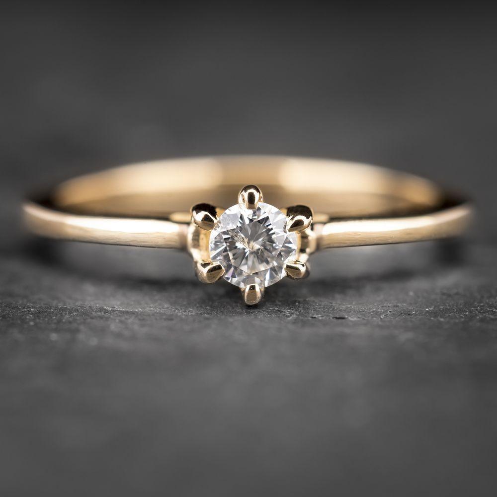"""Geltono aukso sužadėtuvių žiedas su Briliantu """"The Only One 14"""""""