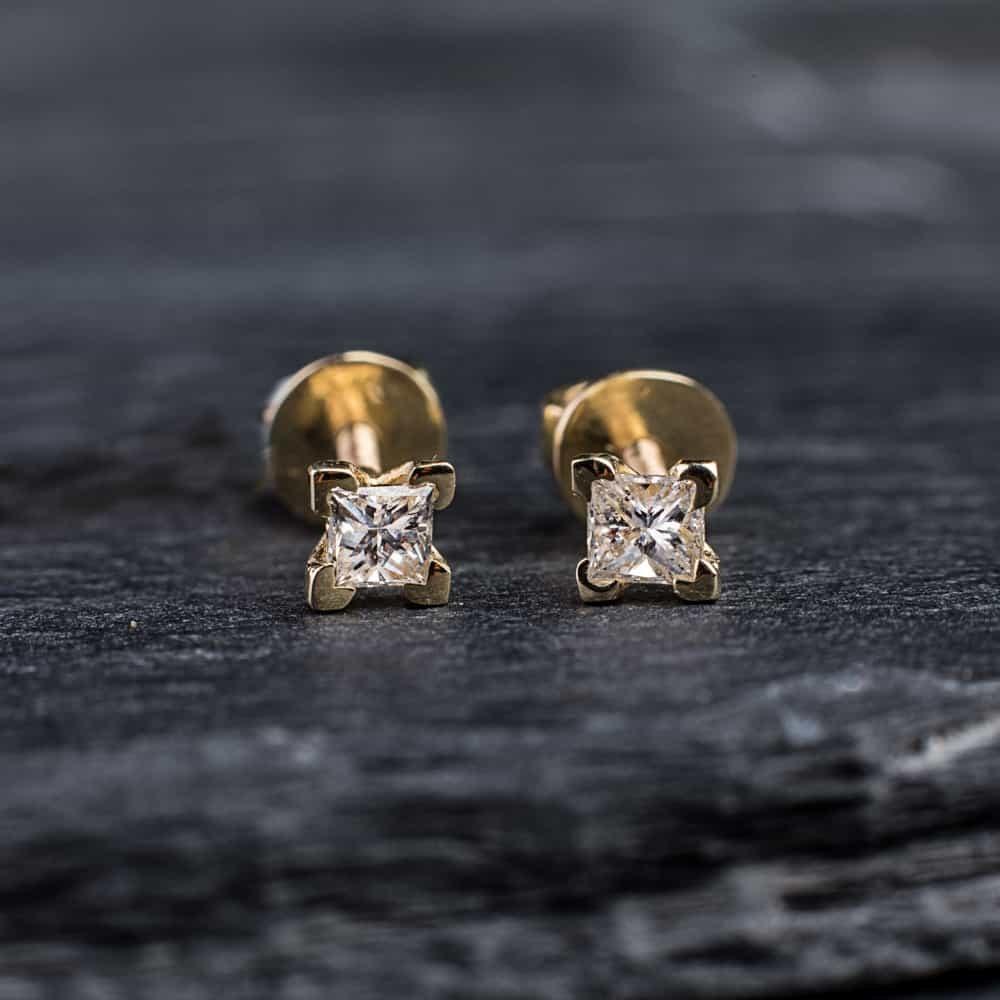 """Auksiniai auskarai su Deimantais """"Žaismingosios Princesės"""""""