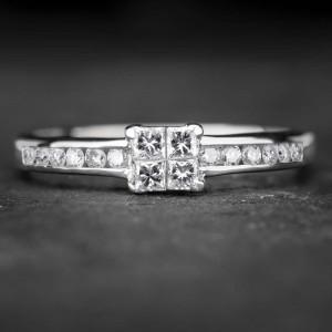 """Balto aukso žiedas su Deimantais """"Princesses 19"""""""