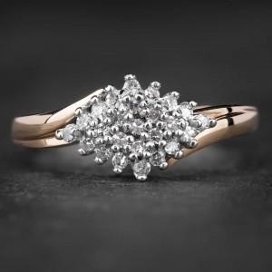 """Auksinis žiedas su Briliantais """"Shiny Flower 3"""""""