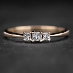 """Auksinis žiedas su Deimantais """"Trilogy 6"""""""
