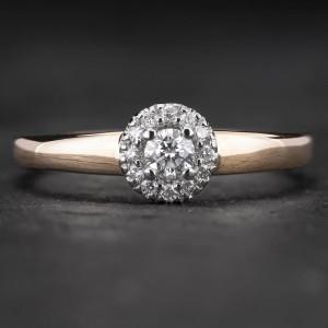"""Auksinis žiedas su Briliantais """"Shiny Flower 10"""""""