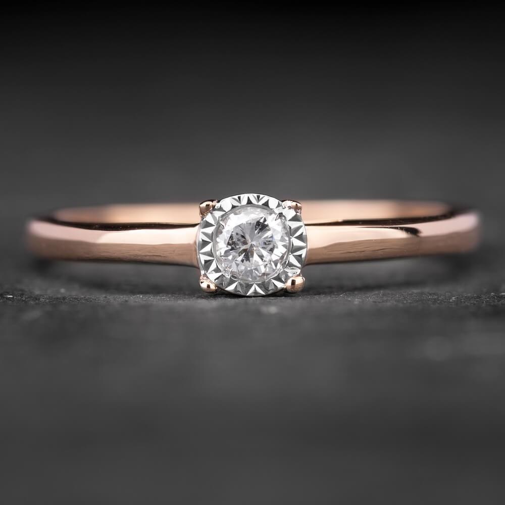 """Sužadėtuvių žiedas su Briliantu """"The Sun 4"""""""