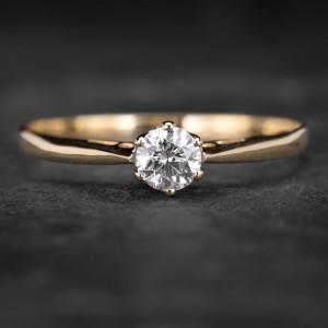 """Sužadėtuvių žiedas su Briliantu """"Kunigaikštytė 10"""""""