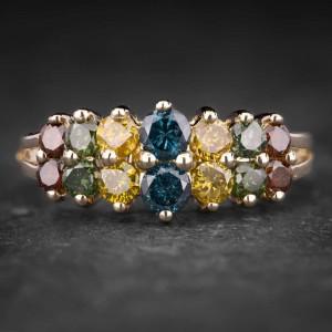 """Auksinis žiedas su spalvotais Briliantais """"Shiny Bunch 25"""""""