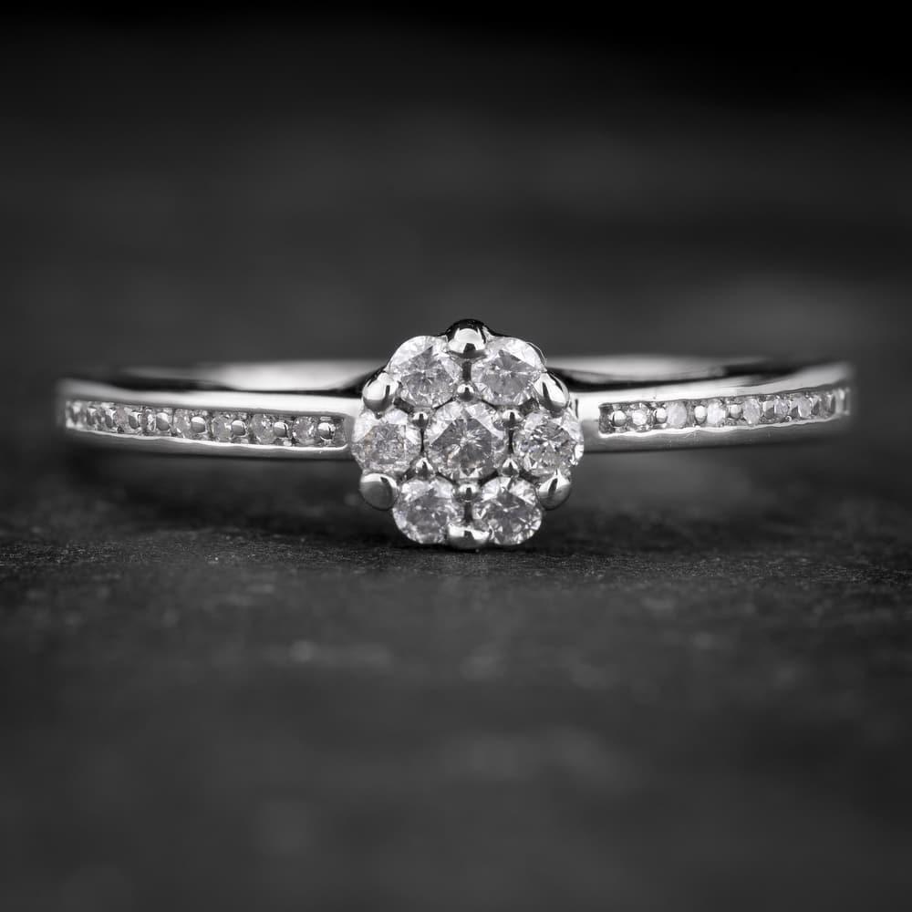 """Sužadėtuvių žiedas su Briliantais """"Shiny Flower 16"""""""