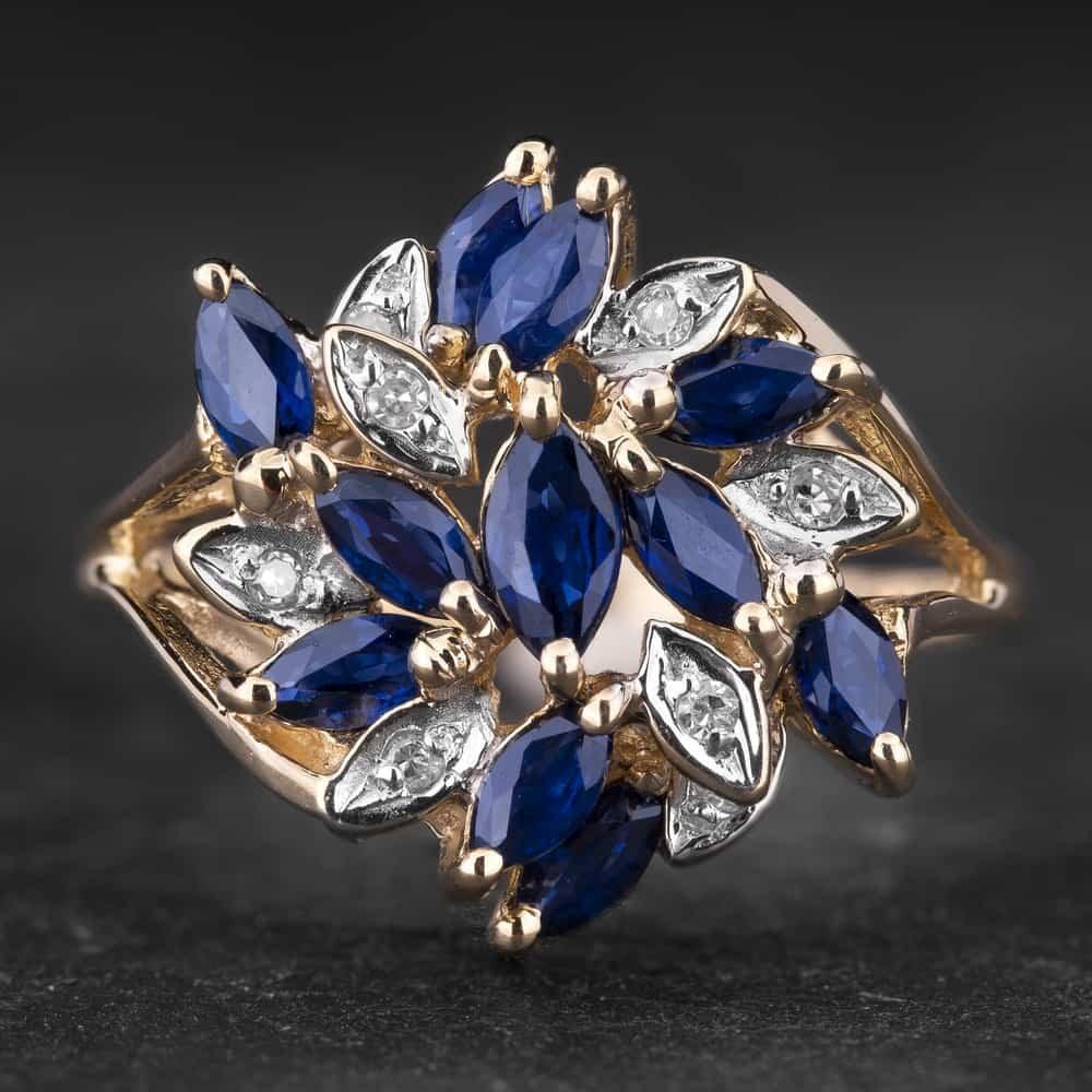"""Auksinis žiedas su Brangakmeniais """"Marquise 8"""""""