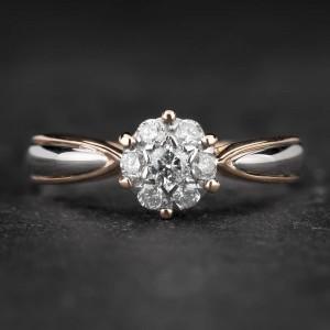 """Sužadėtuvių žiedas su Briliantais """"Shiny Flower 19"""""""