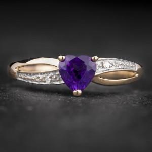 """Auksinis žiedas su Brangakmeniais """"Purpurinis 5"""""""