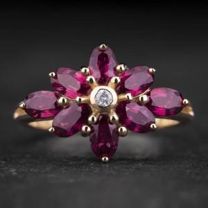 """Auksinis žiedas su Brangakmeniais """"The Flower 5"""""""