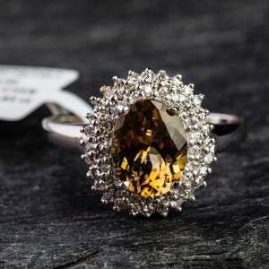 """Auksinis žiedas su Brangakmeniais """"Tyrasis"""""""