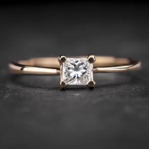 """Sužadėtuvių žiedas su Deimantu """"Princess 66"""""""