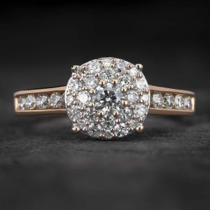"""Auksinis žiedas su Deimantais """"Tiara 27"""""""