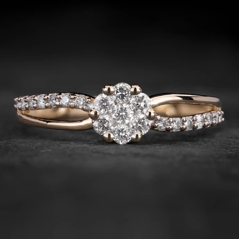 """Auksinis žiedas su Briliantais """"Shiny Flower 25"""""""