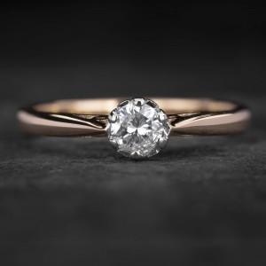 """Sužadėtuvių žiedas su Briliantu """"Kunigaikštytė 85"""""""