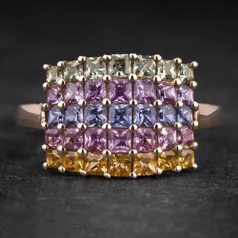"""Auksinis žiedas su Safyrais """"Candy 14"""""""