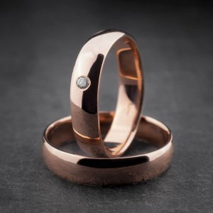 """Vestuviniai žiedai su Briliantu """"Klasika 1-2"""""""
