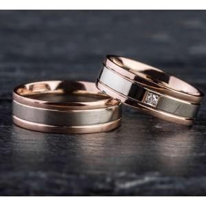 """Vestuviniai žiedai su Briliantu """"Modernūs 2"""""""