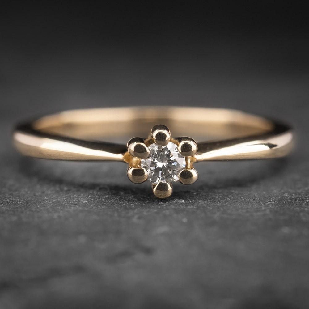 """Auksinis žiedas su Briliantu """"Nuoširdžioji 10"""""""