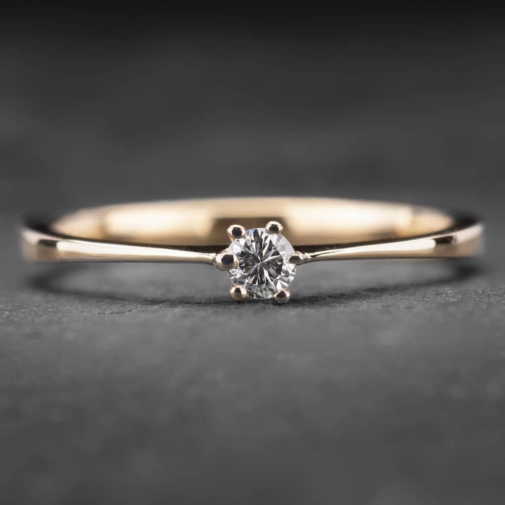 """Auksinis žiedas su Briliantu """"Nuoširdžioji 14"""""""
