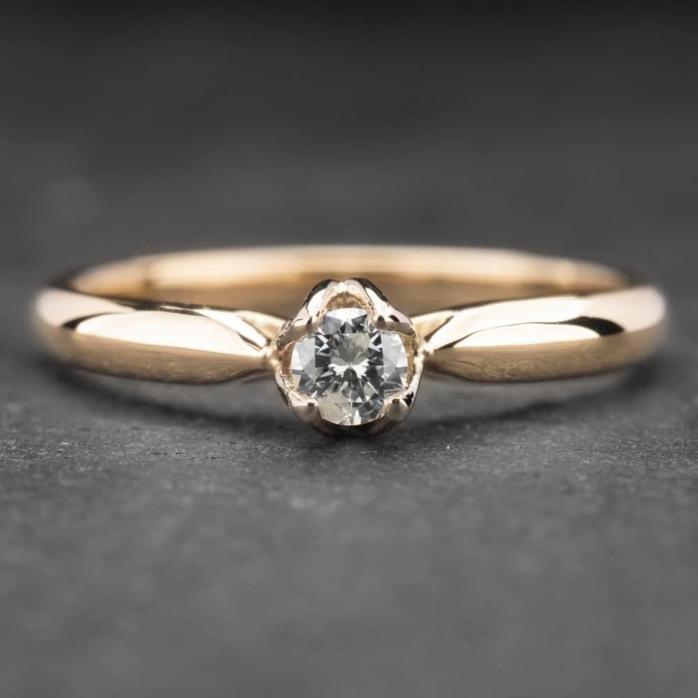 """Auksinis žiedas su Briliantu """"Lotus 4"""""""