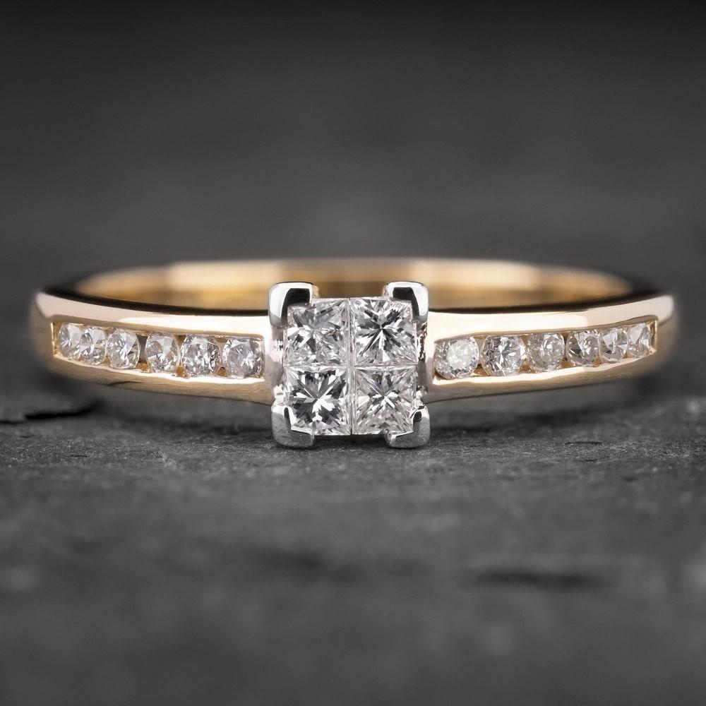 """Auksinis žiedas su Deimantais """"Princesses 10"""""""