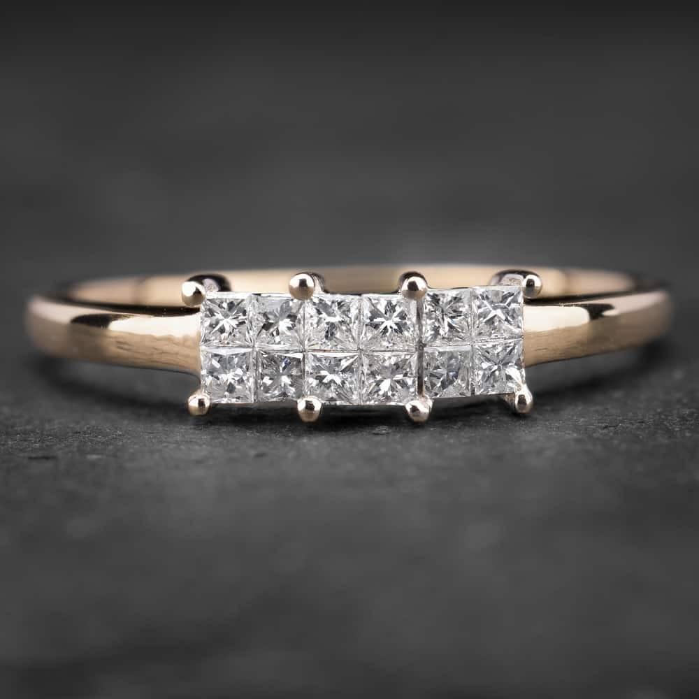 """Auksinis žiedas su Deimantais """"Trilogy 5"""""""