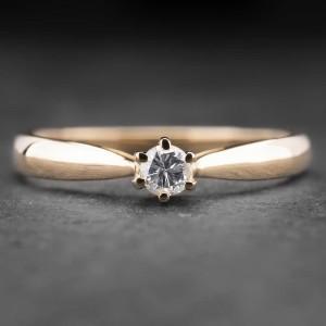 """Auksinis žiedas su Briliantu """"Nuoširdžioji 19"""""""