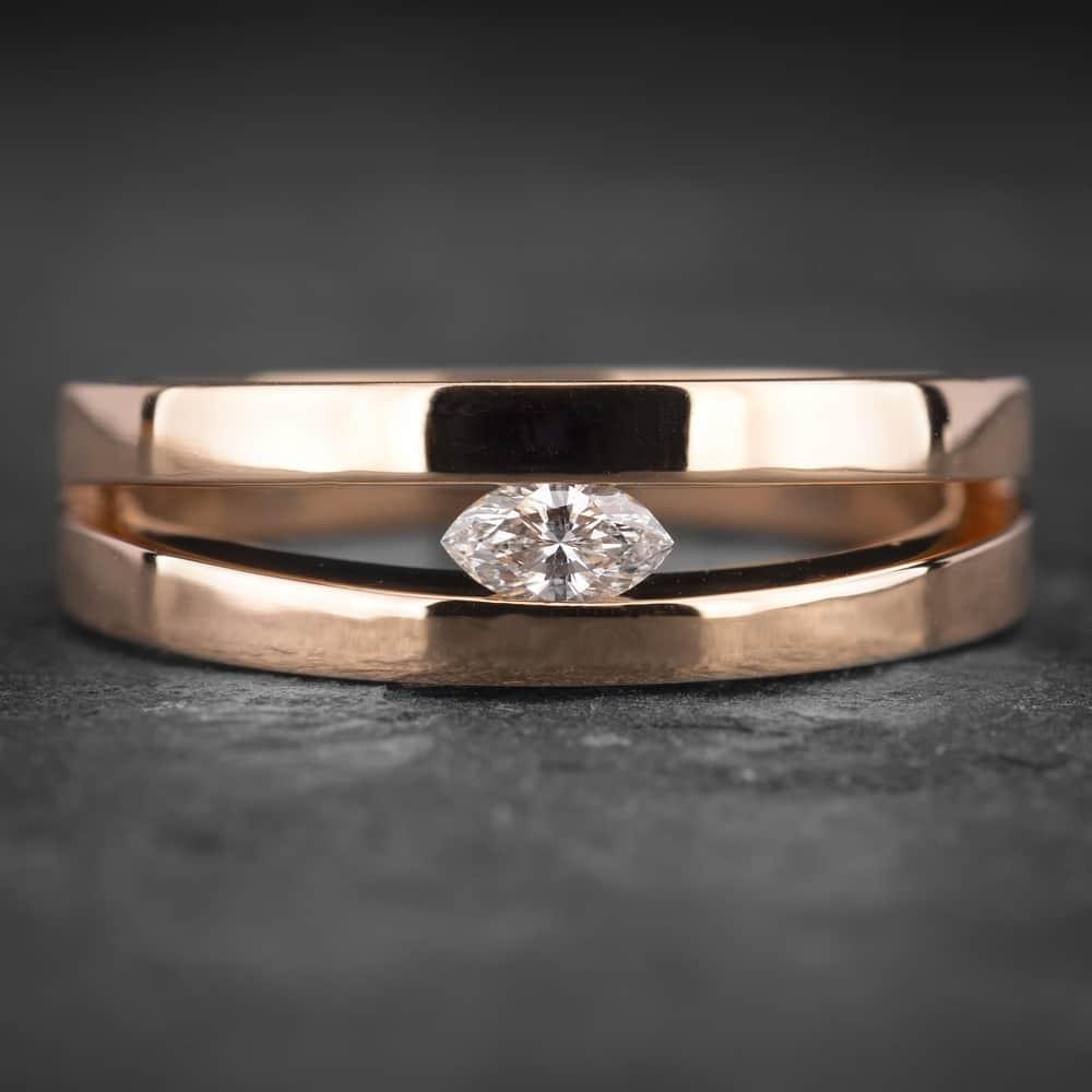 """Auksinis žiedas su Deimantu """"Marquise 2"""""""